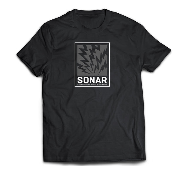 Sonar Sound Signal artwork on front of a soft cotton Gildan heavyweight tee.