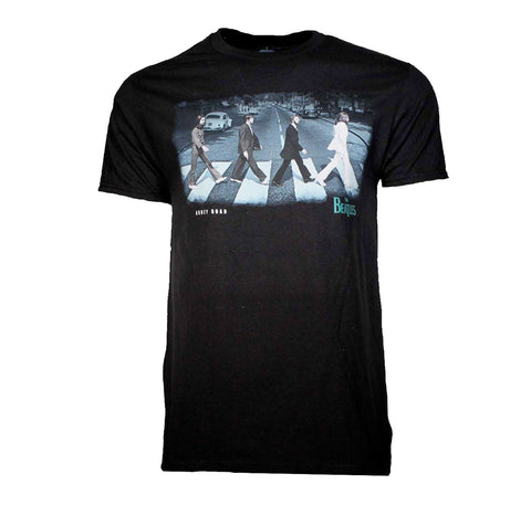 Iconic The Beatles Abbey Road image printed on a black cotton tee.