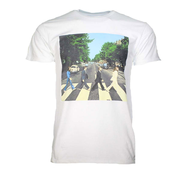 The Beatles Abbey Road image printed on a white cotton tee.