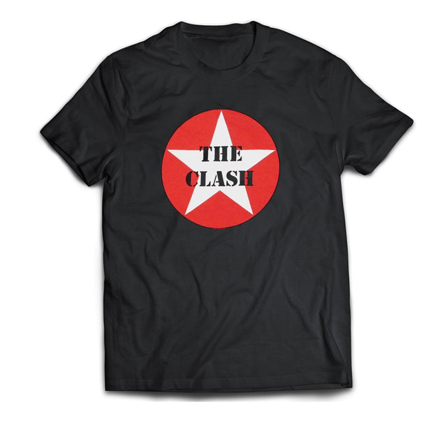 Army style The Clash Target logo printed on a black cotton tee.
