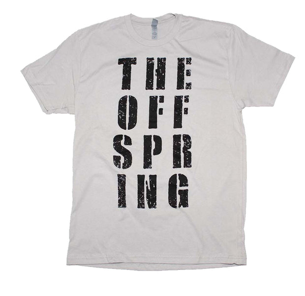 Punk Rock artist The Offspring block letter print on a light gray cotton tee.