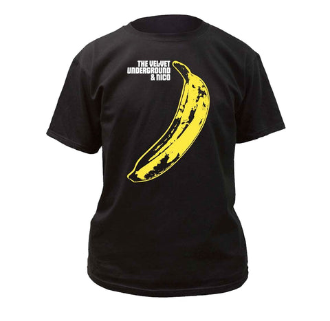 The Velvet Underground Nico Banana artwork printed on a black cotton tee.
