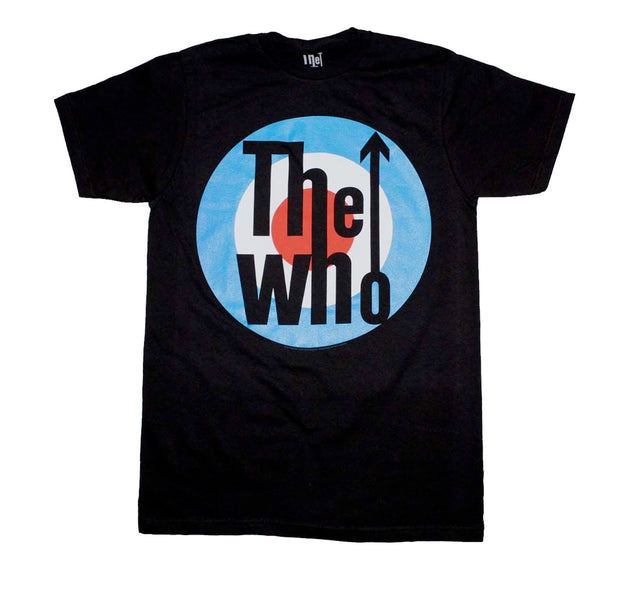 Rock Band The Who classic Target design printed on a black cotton tee.