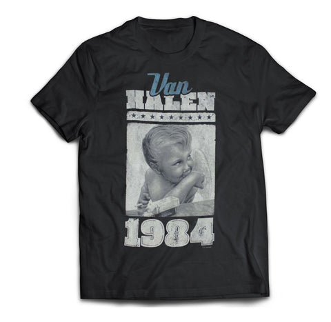 Classic Van Halen Smoking Baby 1984 Jumbo image printed on a black cotton tee.