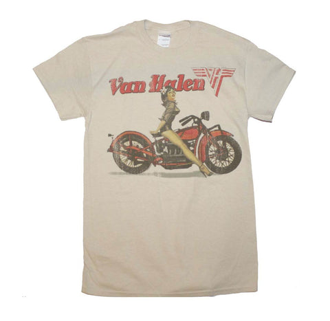 Rock legends Van Halen biker pinup girl printed on a sand colored cotton tee.