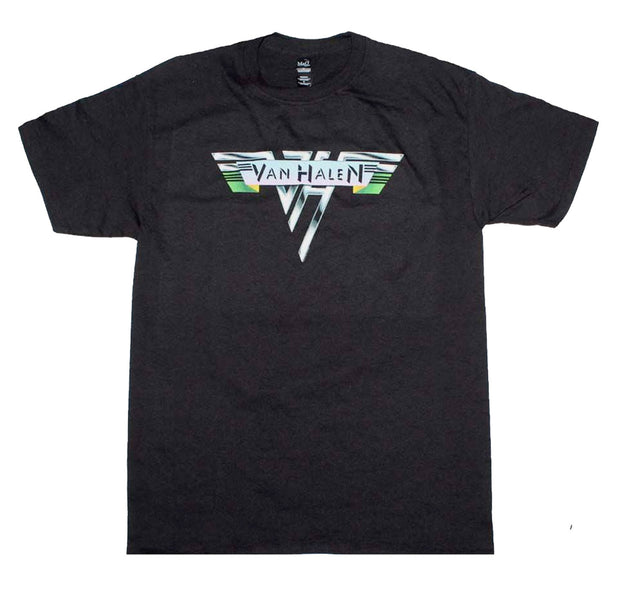 Vintage 1978 Van Halen logo printed on a black cotton tee.