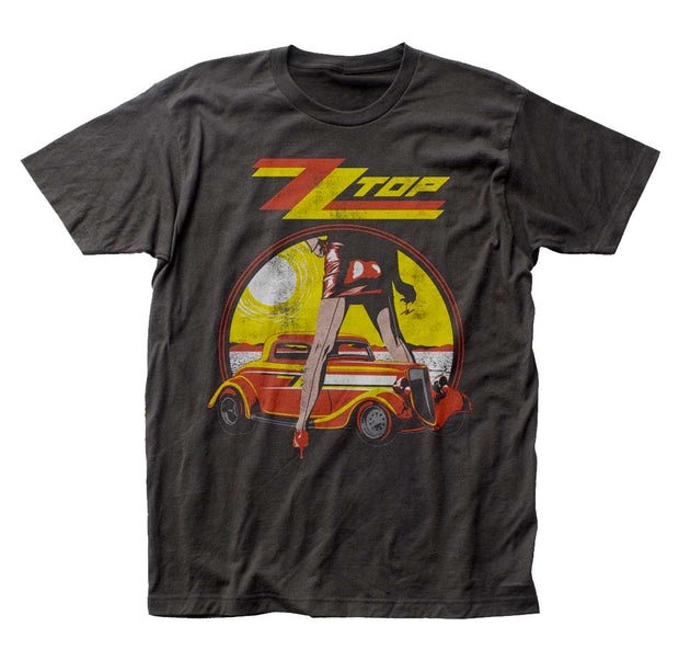 Iconic Legs ZZ Top artwork printed on a charcoal cotton tee.