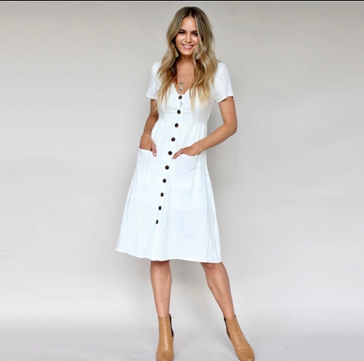 a4fd89118f80 White Button Down Midi Dress – shopdfl