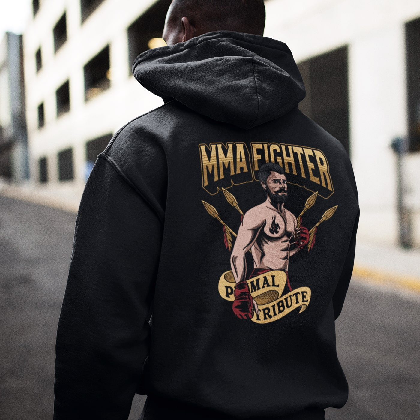 Hoodie MMA Fighter Primal Tribute Noir