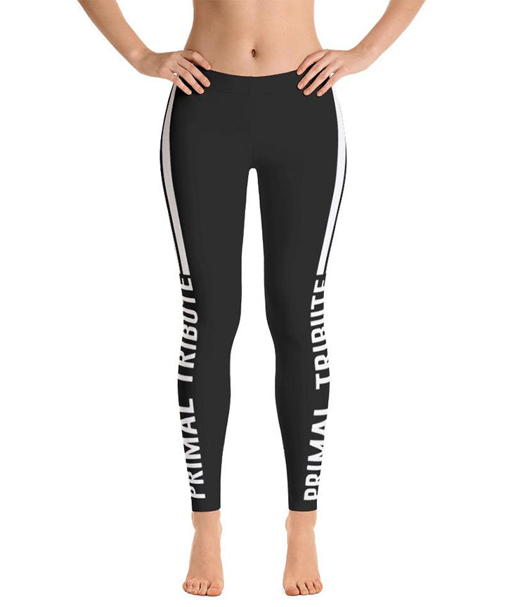 Legging sports de combat reckless noir et blanc de face