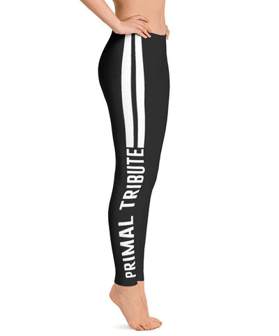 Legging sports de combat reckless noir et blanc de profil droit