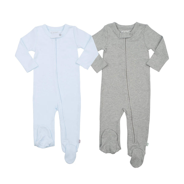 2 Pack Footies Heather Gray & Light Blue