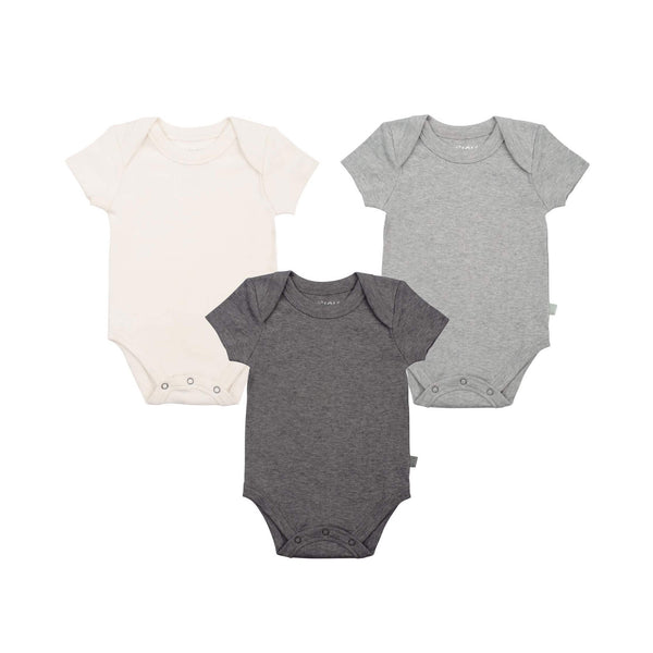 3 Pack Lap Bodysuit Off-White, Heather Gray & Charcoal