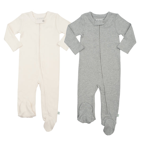 2 Pack Footies Off-White & Heather Gray