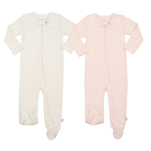 2 Pack Footies Off-White & Pink