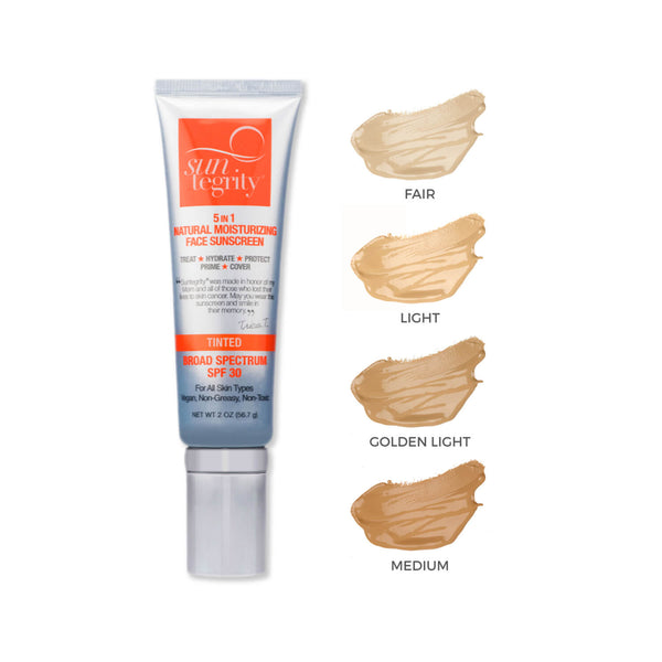 5 In 1 Natural Moisturizing Face Sunscreen - Light. Broad Spectrum Spf 30