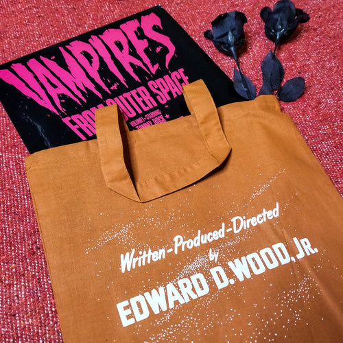 DIRECTED BY ED WOOD orange tote bag - Discount Cemetery