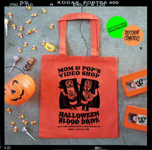 MOM & POP'S HALLOWEEN '86 tote bag - Discount Cemetery