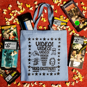 VIDEO EXCITEMENT! blue tote - Discount Cemetery