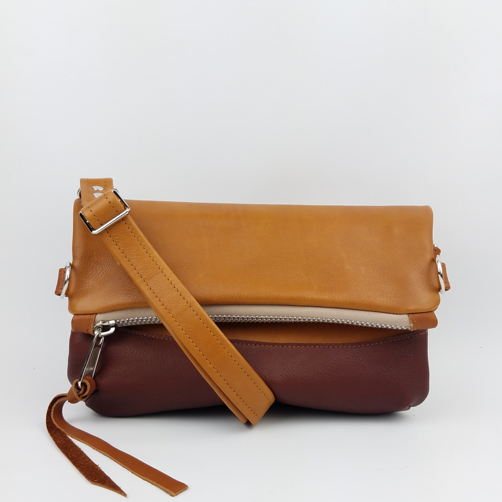 Large Foldover Satchel - Tan & Cognac
