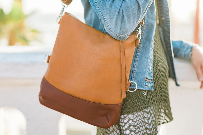 Foldover Satchel - British Tan & Cognac