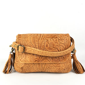 Mini Skye Double-Zip Cross body - Tawny Embossed Floral