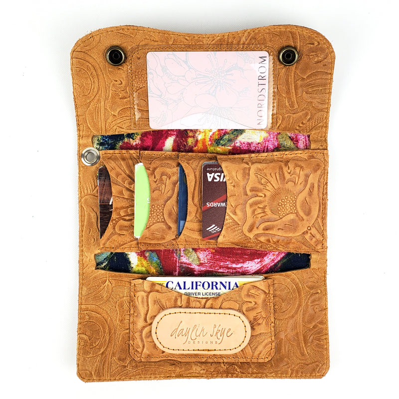 Slim Trifold Wallet - Tawny Embossed Floral