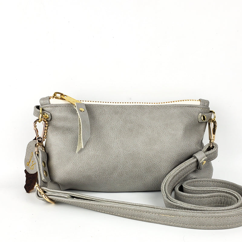 Slim Zipper-Top Cross body Bag - Dove Grey Outlaw