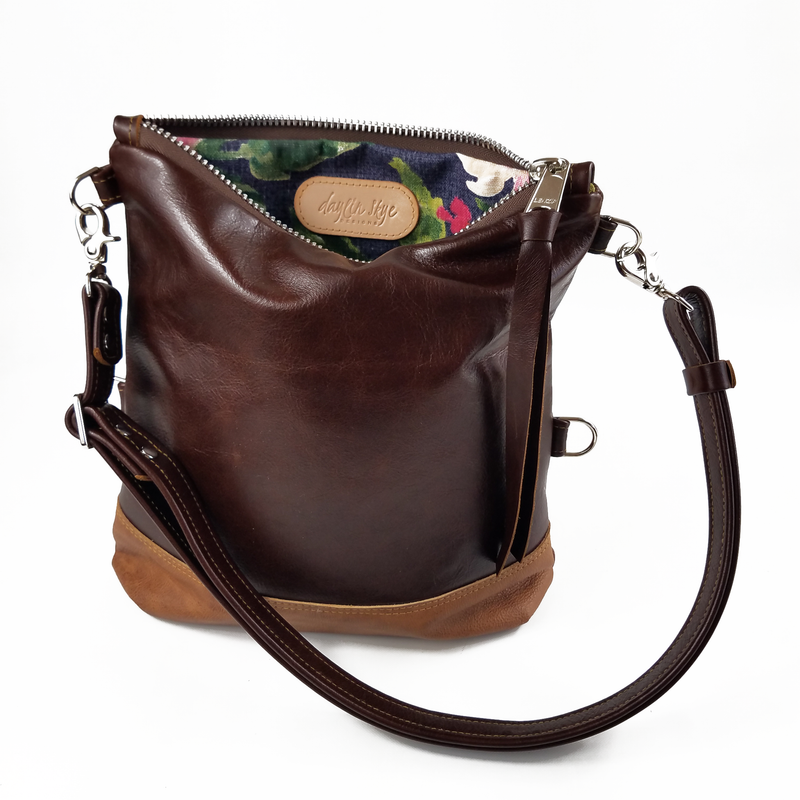Large Foldover Satchel - Coffee & Whiskey Outlaw