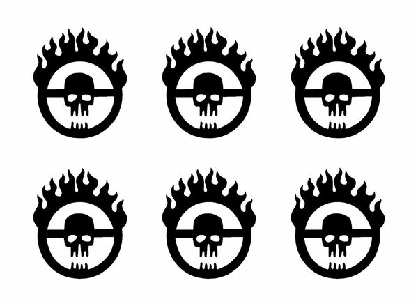 "6 Mad Max Fury Road Skull Logo Vinyl Decals Phone Dashboard Laptop 1"" Stickers"