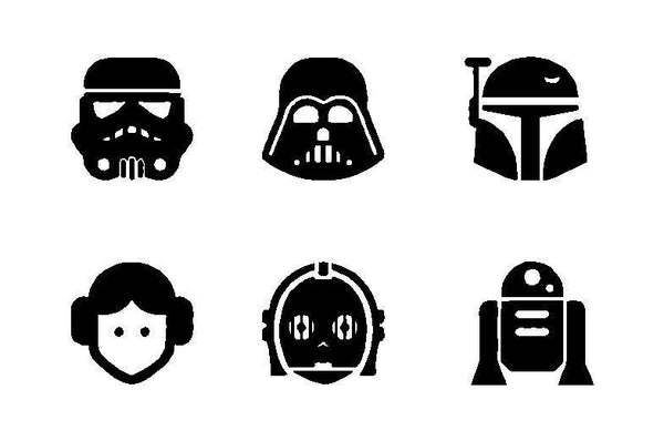 6 STAR WARS CHARACTERS Vinyl Decal Car Windows Laptop Stickers