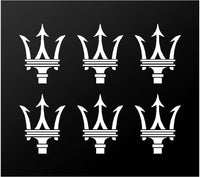 "Maserati Trident Logo Decals Car Interior Exterior 6 Small 2"" Vinyl Stickers"