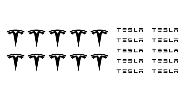 Small Tesla Logo Vinyl Decals Stickers Set