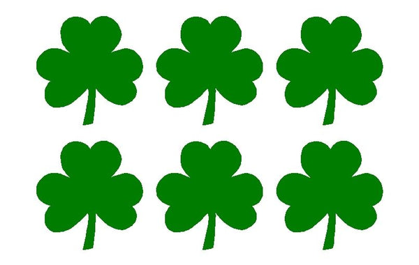 "Irish Shamrock Green Clover 1.5"" Vinyl Decals Phone Laptop Helmet Stickers"
