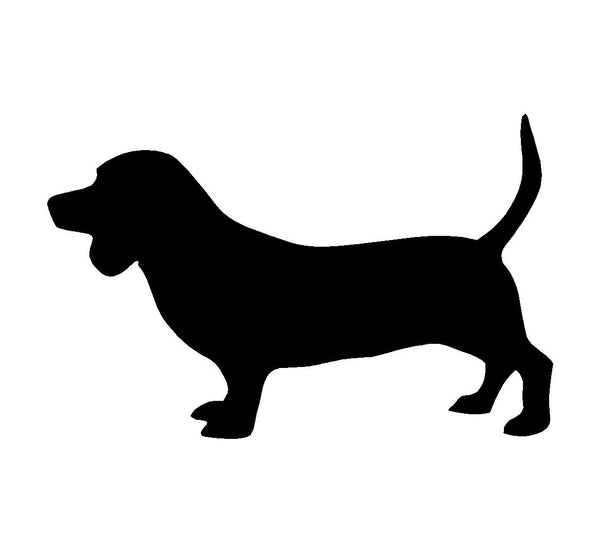 Basset Hound Vinyl Decal Car Window Laptop Hush Puppy Dog Silhouette Sticker