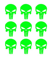 "The Punisher Skull Vinyl Decals Phone Helmet Gun Mag 1"" Stickers Set of 9"