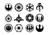 Star Wars Jedi Symbols Set Vinyl Decals Stickers