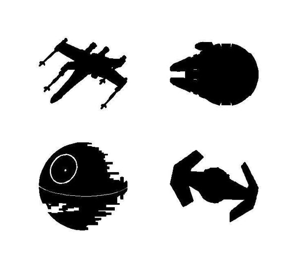 "STAR WARS SHIPS Set Vinyl Decals laptop Stickers sheet of 4 3"" ships"