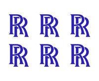 "Rolls Royce Logo Vinyl Decals Phone Laptop Dash Small 1.5"" Stickers Set of 6"
