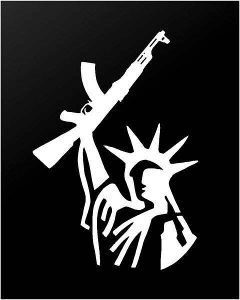 Statue of Liberty with AK Rifle Gun Rights Vinyl Decal Car Truck Window Sticker