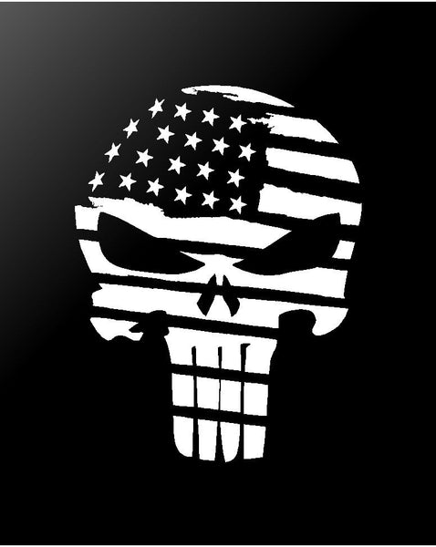 The Punisher Skull Distressed American Flag Vinyl Decal Sticker