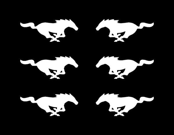 "6 Ford Mustang Left & Right Vinyl Decals GT Horse Pony Logo Small 2"" Stickers"