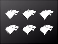 Game of Thrones Stark House Sigil Small Vinyl Decals GOT Stickers Set of 6