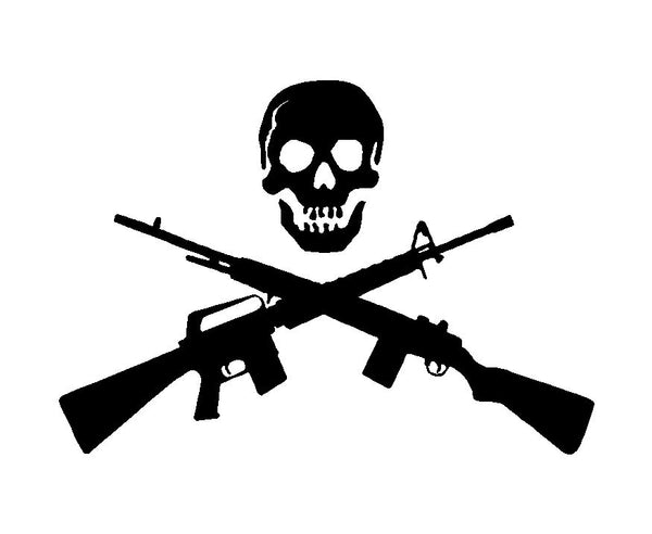 Skull with Crossed Guns Rifle Shotgun Vinyl Decal Car Truck Window Sticker