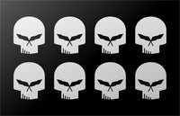 "Corvette C5 Racing Stingray Jake Skull Vinyl Decals Small 1"" Stickers Set of 8"