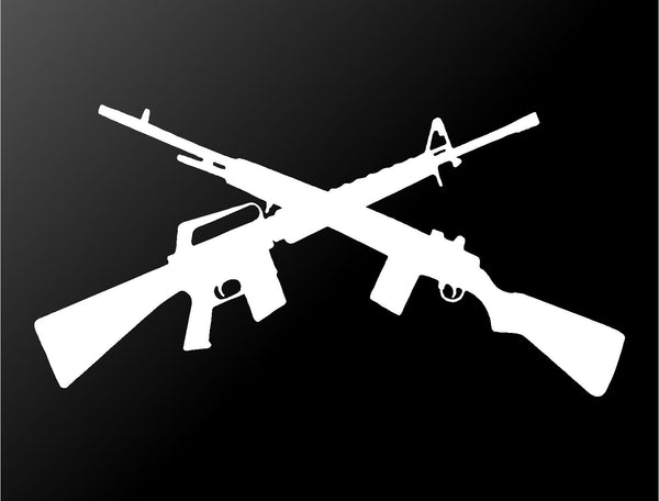 Crossed Guns Rifle Shotgun Vinyl Decal Car Truck Window Laptop Gun Sticker