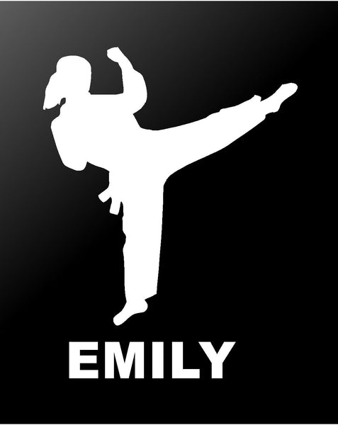 Martial Arts Vinyl Decal Personalized Karate TaeKwonDo Girl Car Window Sticker