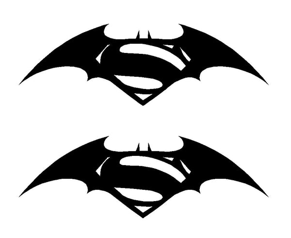 Batman vs Superman Symbol Vinyl Decals Car Window Laptop Stickers Set of 2