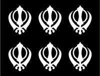 small SIKH Symbol Sticker Sikhism Religion Vinyl Decal Singh Kaur God set of 6