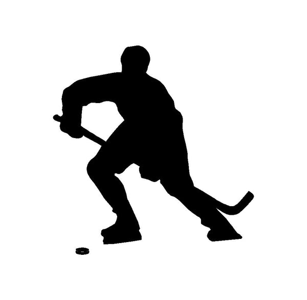 Hockey Player Silhouette Vinyl Decal Car Window Laptop Sticker